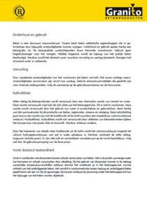 Onderhoud en gebruiksvoorschriften Granito